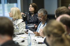 Susan Kurland and Angela Gittens at the Ministers' Roundtable