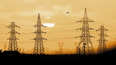 Solar Power (AbhijeetAJ) Tags: sunset sun bird tower lines silhouette clouds flying high sill steel structures cable wires covered electricity electrical depth transmission voltage