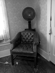 here comes a regular (frankieleon) Tags: blackandwhite bw haircut corner interestingness interesting chair bestof cc creativecommons popular dryer hairdryer frankieleon