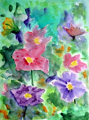 Flowers and flowers, by Carlos (Dona Mincia) Tags: flowers flores art watercolor painting paper collection study tribute homage cosmos homenagem releitura aquarela coleo rereading kaysmith telecture cosmoscharm