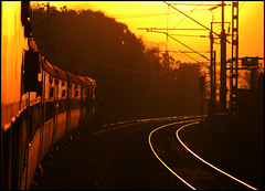 Travelling into Golden Light (Ankit Bharaj) Tags: sun sunlight india against silhouette speed train canon golden is high indian rail 100 express railways shining rath ankit sx dhanbad garib orrisa cuttack irfca vishakhapatnam wdm3a bharaj vskp bhubaneshwer