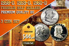 Ben Franklin Half Dollars (The Gold Coin Warehouse) Tags: halfdollars halfdollarcoins benfranklinhalfdollars