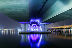 DEEP BLUE (Rober1000x) Tags: bridge blue night concrete lights pier downtown florida miami reflexions 2012 portmiami