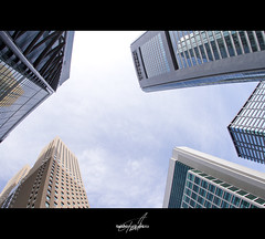 Metropolis (TaishiMatsumoto) Tags: sky japan skyscraper photoshop canon eos tokyo raw fisheye 7d 日本 metropolis 東京 15mm f28 shiodome bulding 汐留 imagemonster