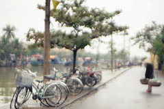 (meifernchong) Tags: travel blue bicycle river riverside traditional overcast vietnam hoian rainy smalltown brokenlens fruitseller brokencamera vietnamesehat