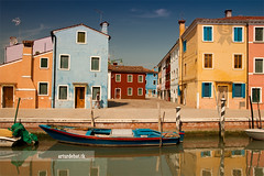 Burano. (arturii!) Tags: trip travel blue venice houses light sky people color reflection home water beauty wow walking boats island canal sticks amazing nice interesting holidays europe italia ship tour superb walk awesome great route sidewalk stunning viatge venecia venezia vacations impressive channel burano gettyimages distorsion polarize canoneso400d arturii arturdebat