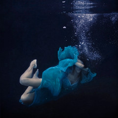 the sinking ship (brookeshaden) Tags: water swimming underwater bubbles sinking fineartphotography underwaterphotography bluedress flowingfabric brookeshaden texturebylesbrumes