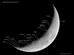 Waxing Crescent Moon (Labeled) - May 25, 2012 (spacemike) Tags: sky moon mare charlotte space northcarolina luna craters crater astrophotography atlas astronomy nightsky hommel charlottenc lunar hercules beaumont crescentmoon capella waxingmoon charlottenorthcarolina apollo17 vitruvius posidonius waxingcrescentmoon theophilus fracastorius rupesaltai moonmap astromike isidorus mutus lunarmap moonmaps sx30 lunarmaps apollo17landingsite pitiscus sx30is spacemike piccolomint stiborius hommelc