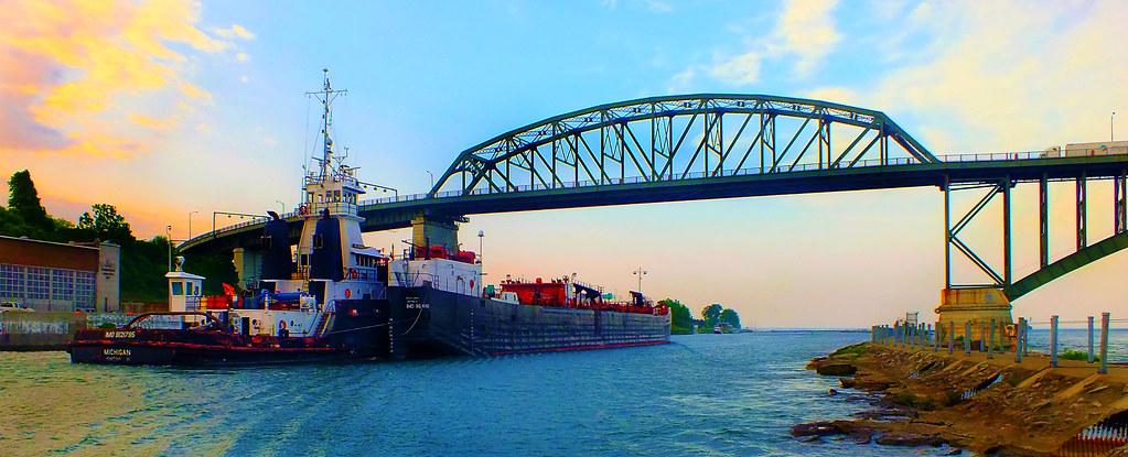 Tug Michigan and Barge Great Lakes In Buffalo