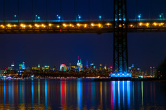 The Empire State (SunnyDazzled) Tags: city longexposure bridge newyork building water night reflections river lights bay colorful cityscape state manhattan empire hudson georgewashington gwb distant
