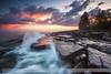 Rush-N-Attack (Shawn Thompson - Lake Superior Photographer) Tags: sunset storm dramatic slowshutter lakesuperior rushing stoneypoint scenic61 epiclight
