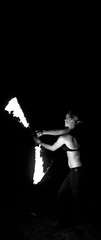 Fire Spinning 11 - University Of Plymouth, UK (Faborsky Photography) Tags: park uk greatbritain england people blackandwhite bw woman white black slr girl contrast pose fire person nikon friend britain snake group performance plymouth highcontrast monotone chain flame devon firespinning poi session juggling dslr performer snakes firepoi firenight paraffin jugglingclub d80 universityofplymouth nikond80 upjc snakepoi sherwellpark