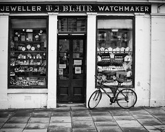 Blair Watch Project (Stewart R) Tags: street bike bicycle shop canon 50mm mono borders kelso watchmaker roxburghshire jewelller