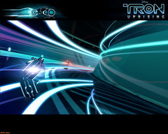 Tron Uprising #10 (Phaota2) Tags: wallpaper reflection race reflections computer neon graphic tunnel scene disney racing animation tron legacy uprising cgi imagery lightcycle lightcycles
