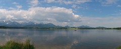 Hopfensee (eddiemcfish) Tags: cameraphone sky panorama lake mountains alps clouds germany deutschland allgu hopfensee sonyericssonxperiaray