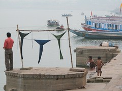 india (gerben more) Tags: people india boats underwear laundry varanasi ganges benares langot