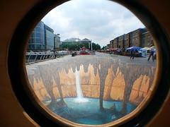 Illusion (Deepgreen2009) Tags: street london window lens waterfall scene pit illusion round canarywharf effect pavementart twodimensional