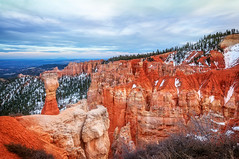 Thor's Hammer - Bryce Canyon (danielacon15) Tags: travel blue sunset red usa snow nature hammer landscape utah nationalpark interesting rocks colorful erosion destination bryce brycecanyon patches hoodoos thors