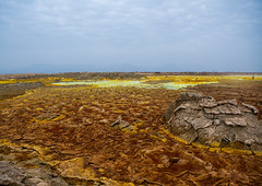 The colorful volcanic landscape of dallol in the danakil depression, Afar region, Dallol, Ethiopia (Eric Lafforgue) Tags: africa travel lake color tourism nature pool beauty horizontal landscape outdoors volcano spring colorful solitude day desert natural earth acid horizon surreal nobody nopeople formation serenity heat minerals environment sulphur isolation geography geology ethiopia hotspring volcanic saline geothermal interest arid ecosystem hornofafrica afar eastafrica geological abyssinia afarregion dallol danakildepression ethio161904
