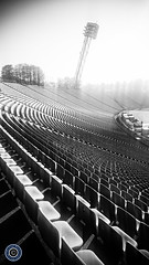 Empty Stadium (Michael N Hayes) Tags: blackandwhite white black germany munich mnchen de bayern chairs metro stadium empty rows olympia olympic olympiazentrum