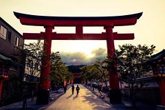 Fushimi Inari Taisha IV (Douguerreotype) Tags: light red people sun 3 japan sunrise temple dawn three kyoto gate shrine shadows buddhist torii vermilion