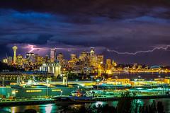 Lightning strike over Seattle (Mardi Labuguen) Tags: seattle storm spaceneedle lightning seattleskyline magolia