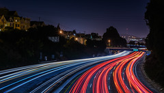 summer reruns (pbo31) Tags: sanfrancisco california red summer motion black color june night dark nikon highway traffic over 101 freeway expressway curve potrerohill 2016 lightstream boury pbo31 d810 victoriamews
