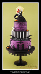 Nightmare Before Christmas - Simply Meant to Be (Little Cherry Cake Company) Tags: christmas xmas wedding white black cake cherry jack spiral purple little hill before sally company nightmare skellington halloweentown
