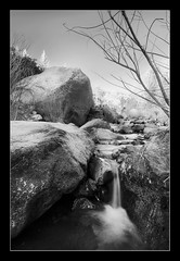 Babbling Brook (TylerPPorter) Tags: longexposure trees bw mountains blakandwhite water creek landscape colorado rocks stream soft sony peaceful wideangle professional zen slowshutterspeed babblingbrook eldoradocanyonstatepark tanquil tylerporter coloradostatepark luminositymasks