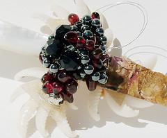 """pearl + peony"" custom made talisman - detail (Opal Owl) Tags: vintage knife peony healing tool garnet motherofpearl athame hemmatite"