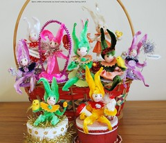 Spun cotton Easter Basket bunnies on parade (jejemae) Tags: pink original rabbit bunny green bunnies bird yellow glitter vintage easter spring folkart purple handmade oneofakind ooak egg feathers chick ornament ornaments tinsel rabbits etsy cottagestyle figures whimsical springtime 2012 vintagestyle candybox giftbox candycontainer easteregg easterbasket happyeaster eastertree featheredfriend vintagecraft babychick crepepaper oldgerman vintageribbon trinketbox feathertree spuncotton vintageinspired easterdecorations eastergreetings spuncottonornaments velvetchenille cottonbatting spuncottonmushroom giftties easter2012 springhomedecor vintagechenilleornaments vintagechenillerooster originalspuncottonart jejemae spuncottonbunny