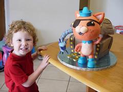 Kwazii cake and the birthday boy (ZeroGravityEnt) Tags: cake 3d treasure chest octonauts kwazii