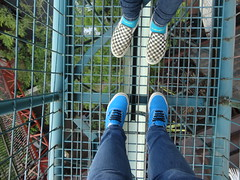 (Maddie Williams) Tags: blue blackandwhite up shoe high cool climbing jeans vans checkerboard swag vansshoes stlouiscitymusuem