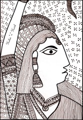 Madhubani Art style in Indian Ink Medium