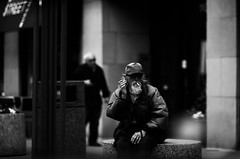 Covert Operations (Hans Maso) Tags: street city people blackandwhite chicago man men canon us blackwhite mark candid iii 5d 135mm markiii ef135mmf20l canoneos5dmarkiii