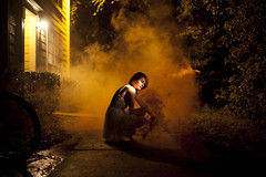 10/365 (alexis mire) Tags: light orange night warm nocturnal smoke flashlight smokebombs ryanjay alexismire