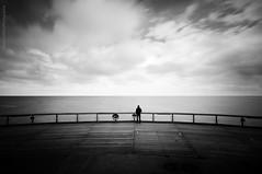 Loin (david galliez) Tags: mer autoportrait noiretblanc sable plage poselongue blankenbergebelgique
