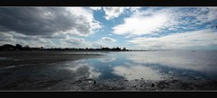 Clouds over the Bay (T. Harper) Tags: blue panorama clouds canon reflections bay australia brisbane qld wynnum 550d sigma1020mmf456exhsm