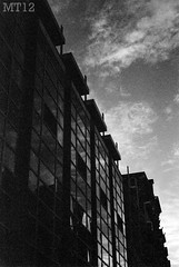 Central Branch (Matthew Trevithick Photography) Tags: sunset sky blackandwhite ontario reflection london film 35mm dark downtown december matthew library central archive scan negative dundas trevithick 2011 londonpubliclibrary matthewtrevithick mtphotography