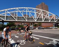 Tribeca Pedestrian Bridge over West Street, New York City (jag9889) Tags: city nyc bridge ny newyork puente cyclists crossing footbridge manhattan bridges overpass pedestrian ponte biking pont westsidehighway brcke 2012 greenway jag9889 y2012