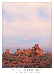 Sandstone Towers, Evening Sky (G Dan Mitchell) Tags: park travel blue sunset red sky usa tower rock clouds america print landscape evening utah sandstone desert dusk north stock scenic arches brush sage national license moab natures pinnacle