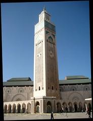 Hassan II Mosque, Casablanca (bodythongs) Tags: africa travel detail art tourism canon photography pattern minaret muslim august mosque ixus morocco maroc casablanca michel largest tallest hassanii islamis pinseau bodythongs
