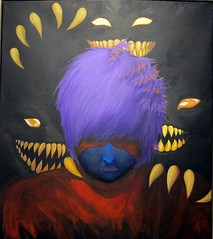 Depression: The Red Tape Masquerade, An acrylic painting on canvas by Emma Mulhall (ali eminov) Tags: paintings depression acryliconcanvas artists emmamulhall studentartists galleries nordstrandvisualartsgallery waynestatecollege collegecampus