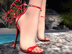 LOVE (Laura18 Streeter) Tags: red hot sexy butterfly shoe sl secondlife footwear hawt heel sandal nailedit hucci lumipro collabor88