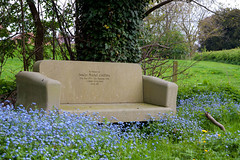 concrete bench at tong (downhamdave) Tags: uk flowers blue wild england west tree pool canon bench concrete 50mm pond memorial raw shropshire seat meadow sofa tong midlands elements10