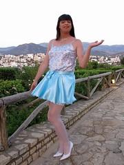 Let it go (Paula Satijn) Tags: blue white hot sexy stockings girl smile happy shiny pumps legs outdoor silk skirt tgirl crete transvestite satin miniskirt gurl