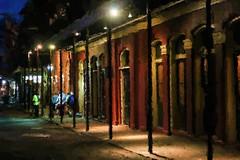 Lone Night (chantsign) Tags: road lighting windows night watercolor walking doors neworleans sidewalk frenchquarter poles mutedcolors corelpainter