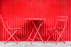 144 / 366 - Monochromatic (Pamela Saunders) Tags: red metal table chairs monochromatic squamish 366 366project