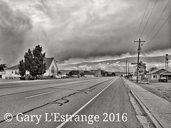 Robbers Roost, Green River, UT (garylestrangephotography) Tags: road street usa cloud white black green monochrome truck river grey mono utah motel monotone garylestrangephotography