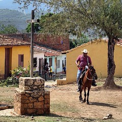Cuba Trinidad Horse Man (luciwest) Tags: horse mountain history square moving village cross postcard cuba colonial historic squareformat trinidad april caribbean another minute in 2016 iphoneography instagramapp uploaded:by=instagram